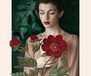 art, flowers, and woman image
