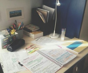 college, desk, and focus image