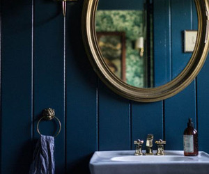 bathroom, interior, and blue image