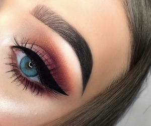 makeup, beautiful, and blue eyes image