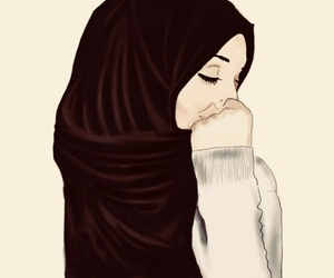hijab, drawing, and islam image
