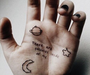 grunge, galaxy, and hand image