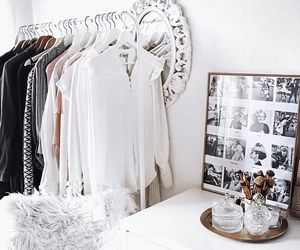 bedroom, clothes rack, and decor image