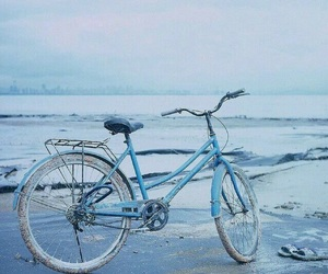 blue, aesthetic, and bike image