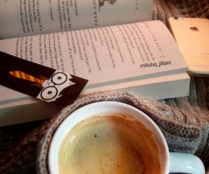 book, coffee, and harrypotter image