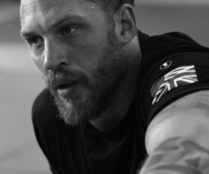 tom hardy, black and white, and handsome image