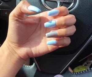 nails, silver, and babyblue image