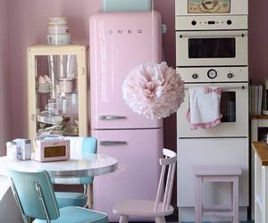 kitchen, vintage, and pink image