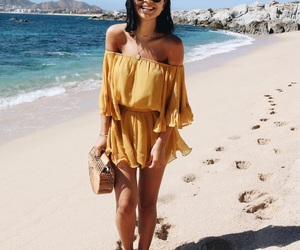beach view, outfit, and style image