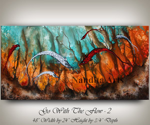 Abstract Painting, seascape artwork, and contemporary art image