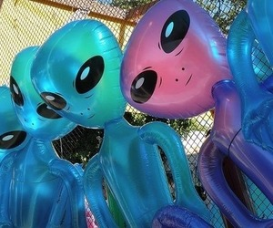 alien, grunge, and blue image
