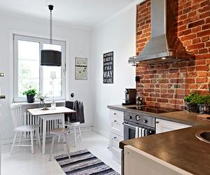kitchen, brick, and home image