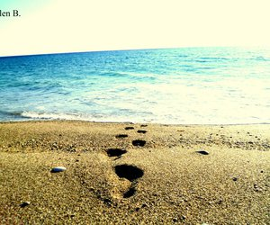 beach, crete, and footsteps image