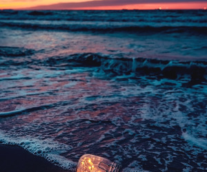 beach, lights, and wallpaper image
