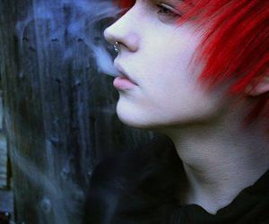 boy, smoke, and red hair image