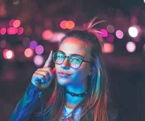 girl, light, and glasses image