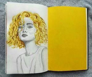 yellow, girl, and drawing image