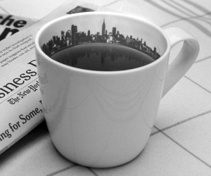 black and white, city, and drink image