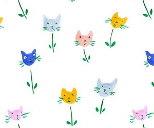 cats, flower, and wallpaper image