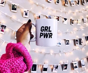 coffee, girl power, and polaroid image