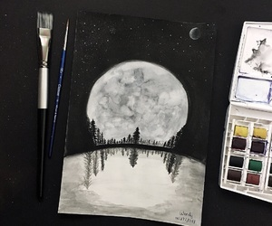 art, watercolorpainting, and moonpainting image