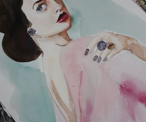 blue, pink, and woman image