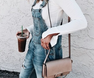 coffee, denim, and fashion image