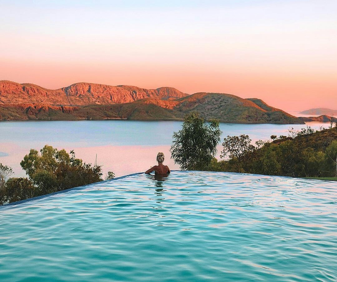 australia, infinity pool, and lake image