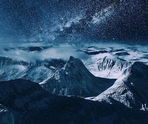 mountains, night, and stars image