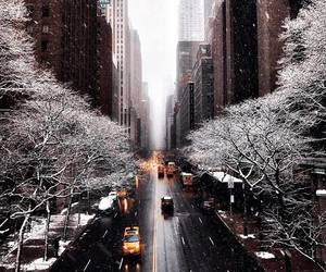 snow, winter, and taxi image