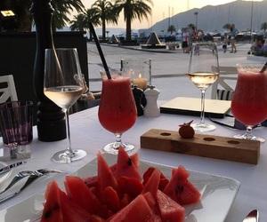 palmtree, sunset, and wine image