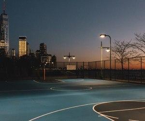 night, sunset, and Basketball image