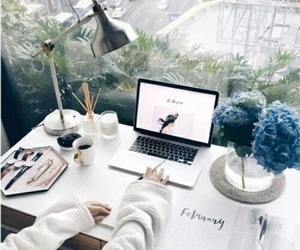 study, work, and flowers image