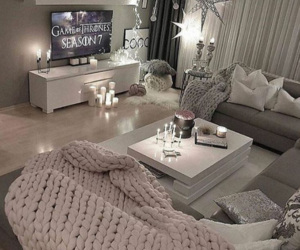 blush, living room, and throw blanket image