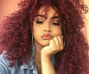girl, curly hair, and makeup image