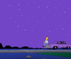 purple, simpsons, and stars image