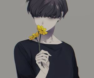 anime, boy, and flower image