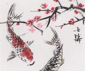 cherry blossom, gold fish, and painting image