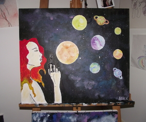 painting, watercolor, and universe image
