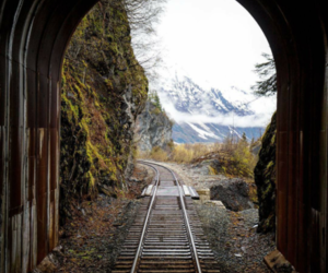 mountains, train, and cold image