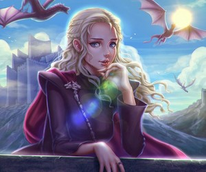 game of thrones, dragon queen, and rhaegal image
