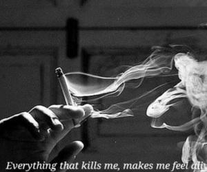 smoke, cigarette, and black and white image
