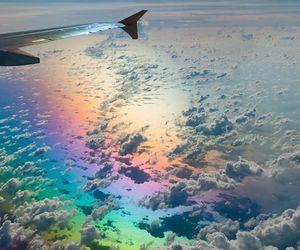 aesthetics, plane, and rainbow image