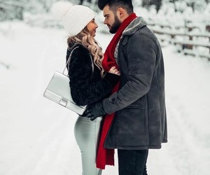 couple, snow, and love image