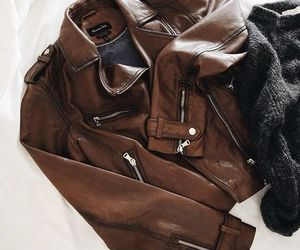 leather jacket, brown jacket, and aesthetic image