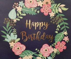 birthday card, flowers, and pretty image