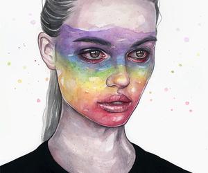 art, illustration, and rainbow image