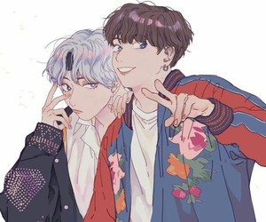 fanart, jungkook, and v image