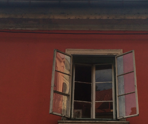 red, architecture, and window image