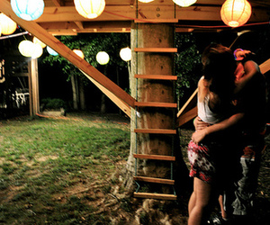 love, couple, and treehouse image